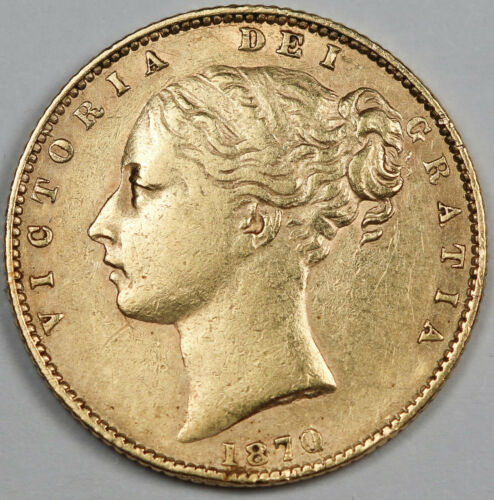 Great Britain UK 1870 Sovereign Sov Gold Coin Young Victoria XF+ Shield Type #23