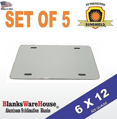 5 Pieces Aluminum License Plate Sublimation Blanks 6 X 12 New Best Quality