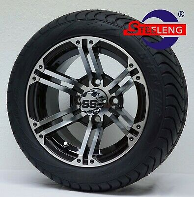 "GOLF CART 12"" TERMINATOR WHEELS and 215/40-12 DOT LOW PROFILE TIRES (SET OF 4)"