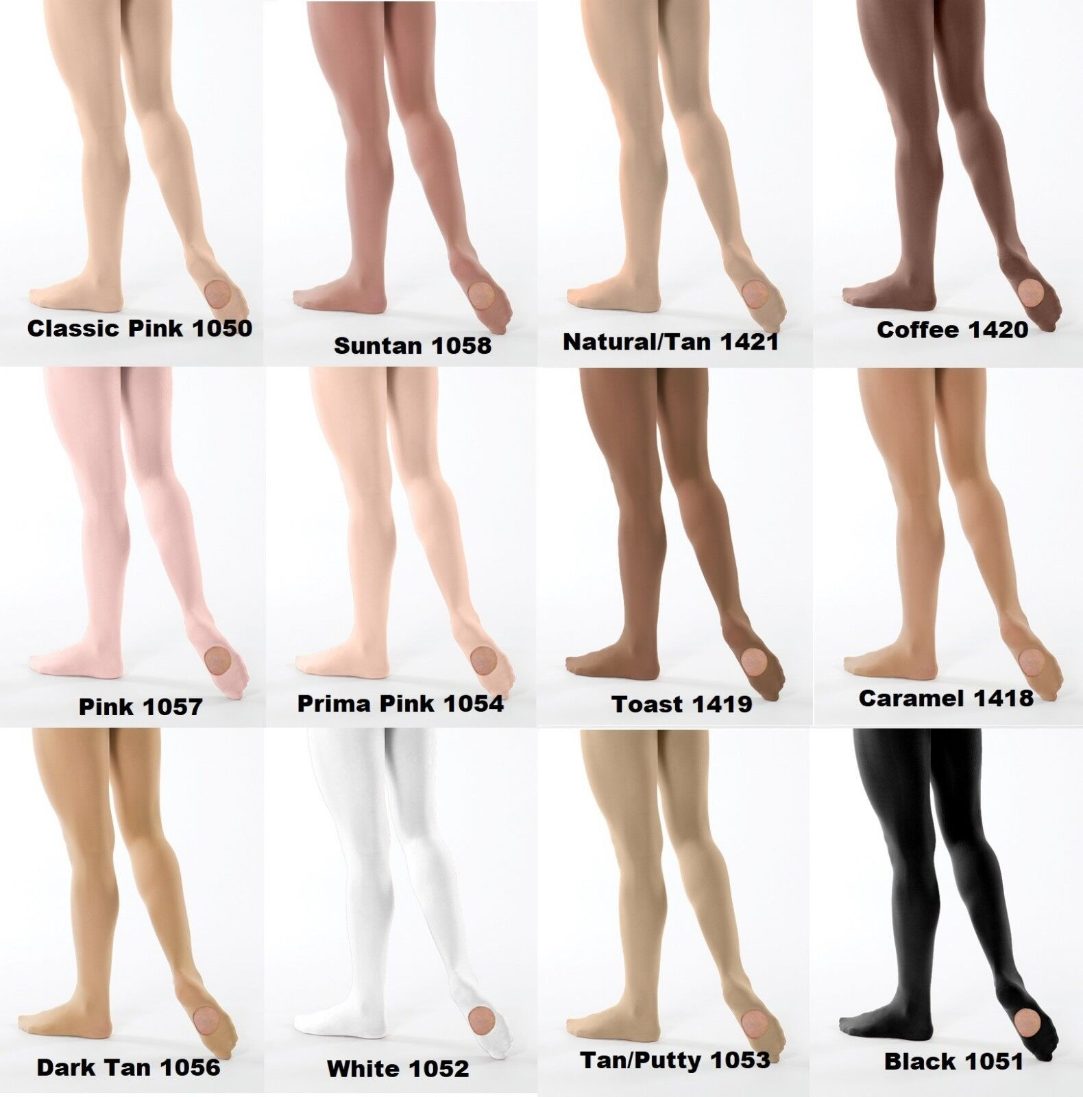 FOOTED Dance TIGHTS PINK//TAN//WHITE CH//AD Supplex ultrasoft ovr 100 pair in stock
