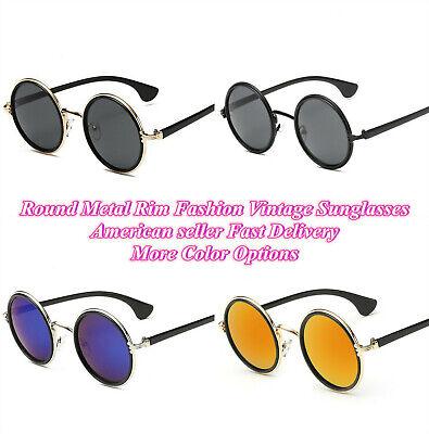 Round Metal Rim Fashion Vintage Glasses Retro 50s Classic Women Men (50s Sunglasses Men)
