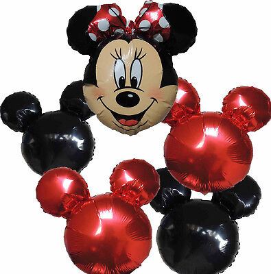 5PCES RED BOW MINNIE MOUSE BALLOON BIRTHDAY PARTY GIFT CENTERPIECE - Red Minnie Mouse Birthday Decorations