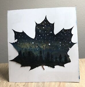 Original painting on maple leaf