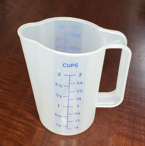 Tupperware 2 Cup 16 oz Measuring Pitcher 500mL Blue Vintage NEW Imperfect Pics