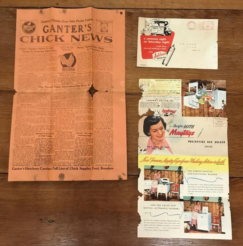 3 Vintage Chicken Gas Maytag Ads Feed Hatchery Print Advertisement News 1930s