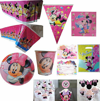 MINNIE MOUSE BUNTING TABLECOVER PARTY BAGS NAPKINS PLATES CUPS - Minnie Mouse Napkins