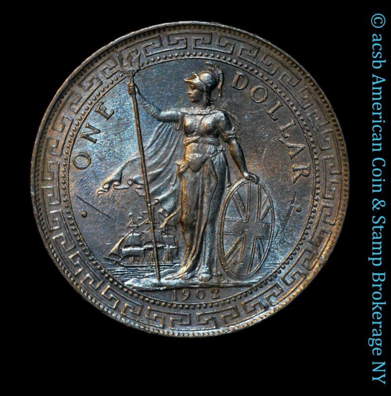 Great Britain 1 Trade Dollar 1902 B UNC BU silver KM# T5 Frosty Gem