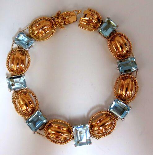 Aquamarine Bracelet Vintage 16.40ct (7) emerald cuts 18kt chain link 7.25 inch