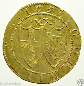 COMMONWEALTH-UNITE-1653-mm-SUN-BRITISH-HAMMERED-GOLD-COIN-GVF