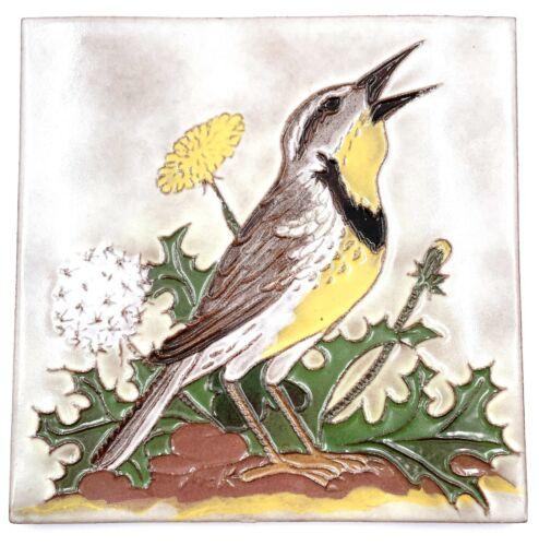 """McKusick Tile 1986 # 4/1000 Meadowlark Bird Floral Globe AZ 5 5/8"""" x 5 5/8"""" Vtg"""