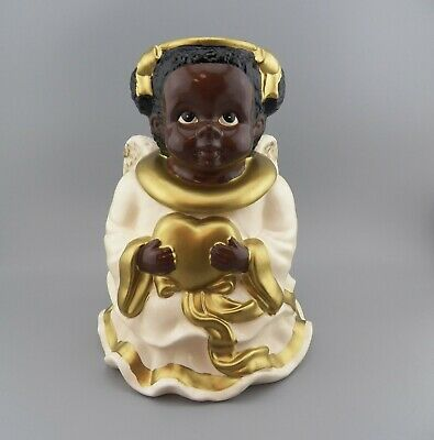 Vintage Jay Import ~ Black Angel Holding Heart Cookie Jar ~ Collector Must Have!