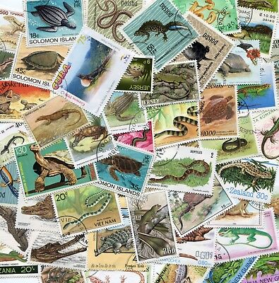 100 Different Reptiles Snakes & Turtles  Stamps Selection **STOCK PICTURE**