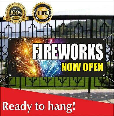 Now Showing Banner (FIREWORKS NOW OPEN Banner Vinyl / Mesh Banner Sign Salute Show Holiday)