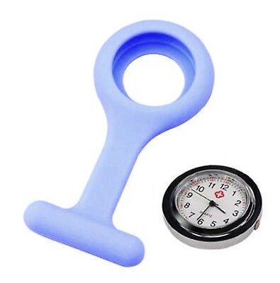 Silikon-Uhr für Krankenschwestern Sicherheits-Nadel Gummi Taschenuhr Hell Blau O