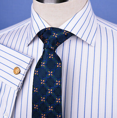 (Light Blue Striped Dress Shirt Formal Business Designer Stripes Stylish Fashion)