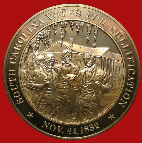 1832 South Carolina Votes for Nullification - Franklin Mint Solid Bronze Medal