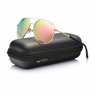 Aviator Sunglasses for Womens Polarized Pink Mirror by LUENX