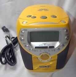 Clock Philips Yellow Radio Rare CD Alarm Used tested Model AJ3957/17