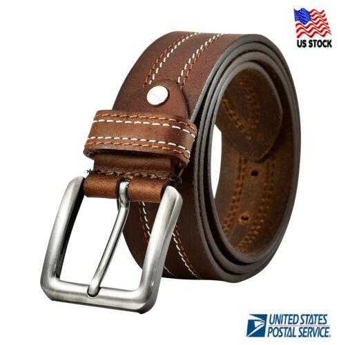 100% Genuine Leather Belts Mens Casual Dress Jeans Belt Black Brown Us Stock
