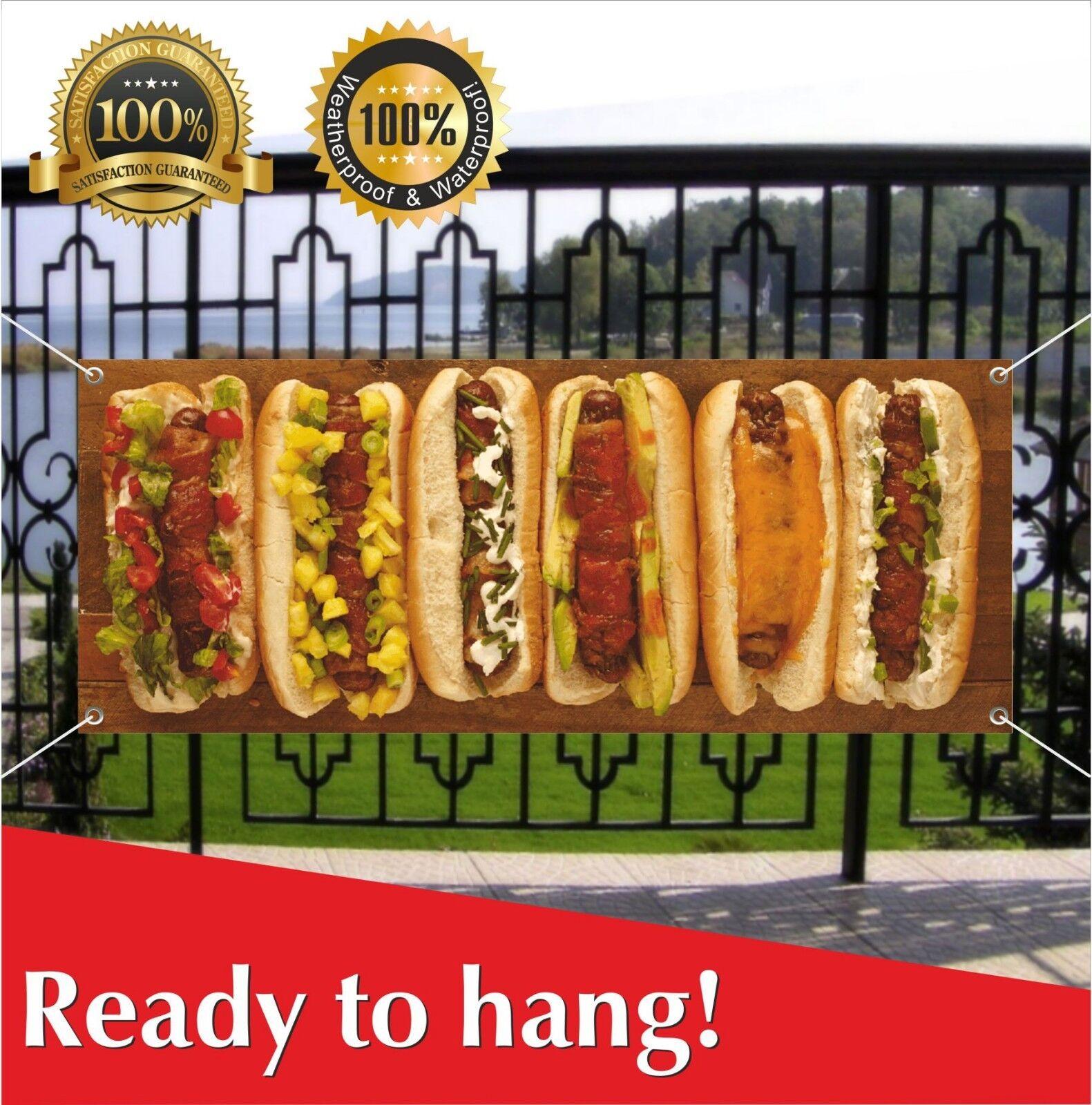 HOT DOGS Banner Vinyl / Mesh Banner Sign Flag Fast Food Cafe Bar Burgers Hotdogs - $17.56