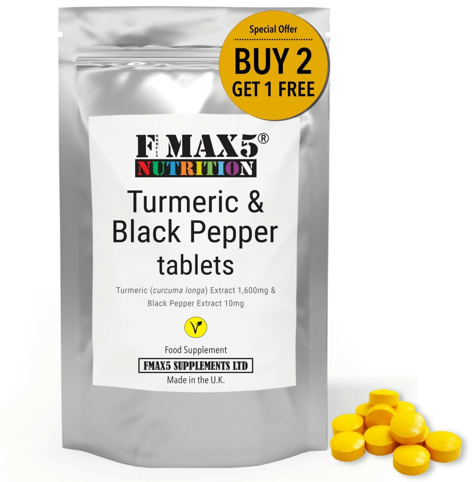 Turmeric Curcumin 1600mg PLUS Black Pepper Pills Tumeric Tablets - GMP UK MADE