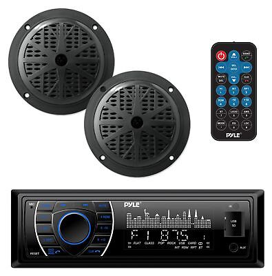 - Bluetooth Marine Boat Stereo Speaker Kit Waterproof Sound System Radio Streaming
