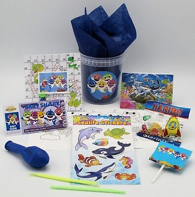 BABY SHARK THEMED FILLED PARTY TUBS BAGS GIFT FAVOUR PRIZE (Shark Themed Gifts)