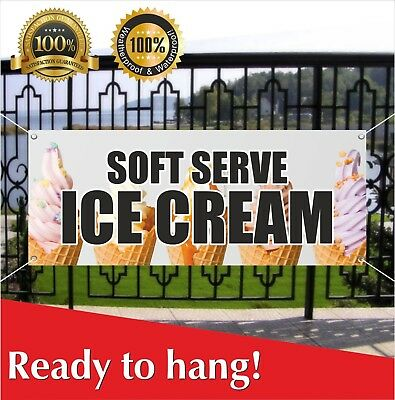 Soft Serve Ice Cream Banner Vinyl Mesh Banner Sign Flag Cone Sundae Banana