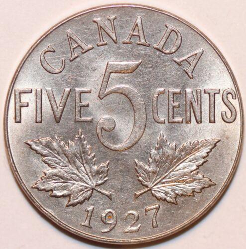 CANADA 1927 5 CENTS Canadian Nickel King George V KM#29 BU .  #0050