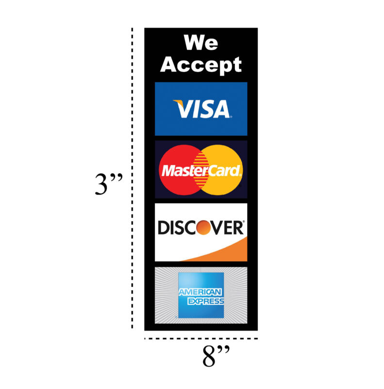 2 PACK CREDIT CARD LOGO DECAL STICKERS - Visa / MasterCard/Discover/Amex