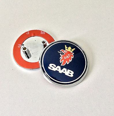 SAAB BOOT TRUNK BADGE EMBLEM 2 PIN 93 95 9-3 9-5 BLUE REPLACEMENT NEW