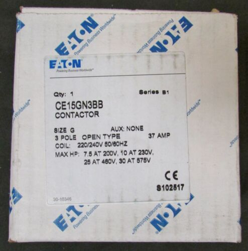 EATON CUTLER HAMMER CE15GN3BB 220/240V Size G Contactor 37 Amp CE15GN3
