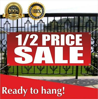 Half Price Sale Banner Vinyl Mesh Banner Sign Discount Clearance Holiday