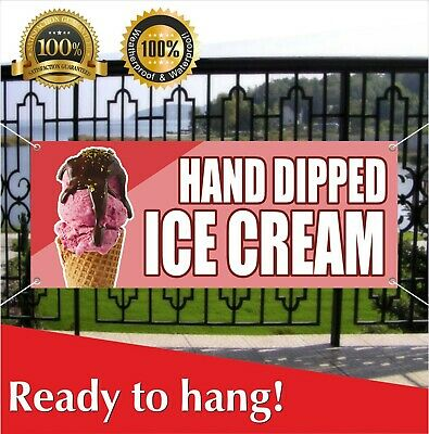 Hand Dipped Ice Cream Banner Vinyl Mesh Banner Sign Dessert Deep Brownies