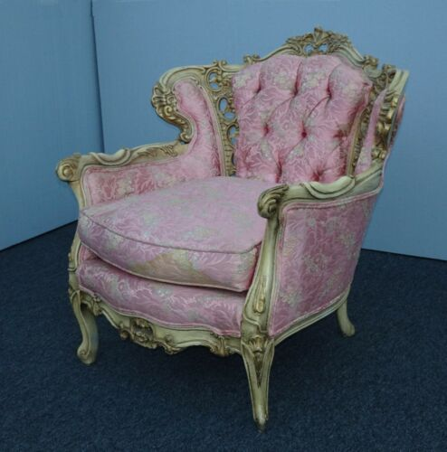 Vintage French Provincial Louis XVI Rococo Pink Tufted Ornate Accent Chair