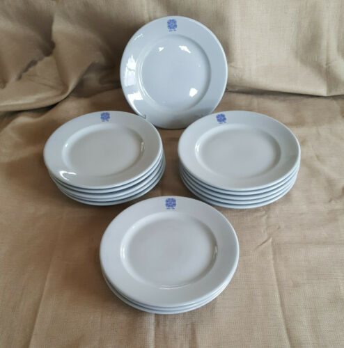 "lot 14 Buffalo China Lune blue dinner plates 9"" restaurant ware VFW Post 1779"