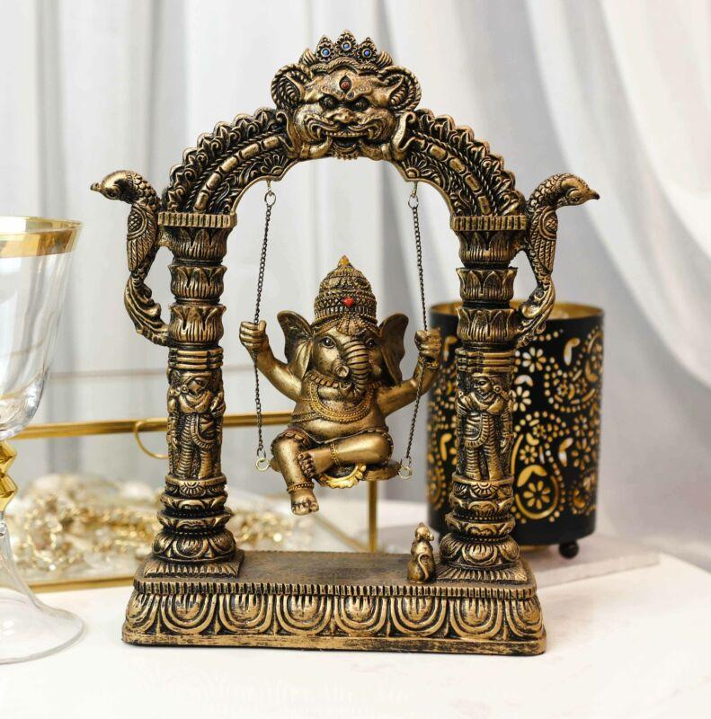 Hindu Supreme God Baby Ganesha Divine Child On Swing With Mooshika Mouse Statue