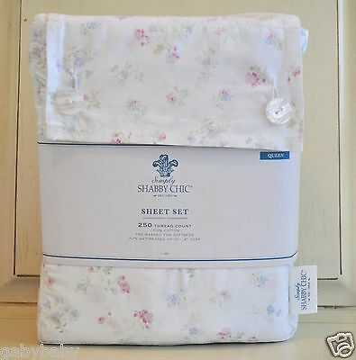 Rachel Ashwell Obviously Shabby Chic Cotton Candy Floral QUEEN Sheet Set Pink Blue