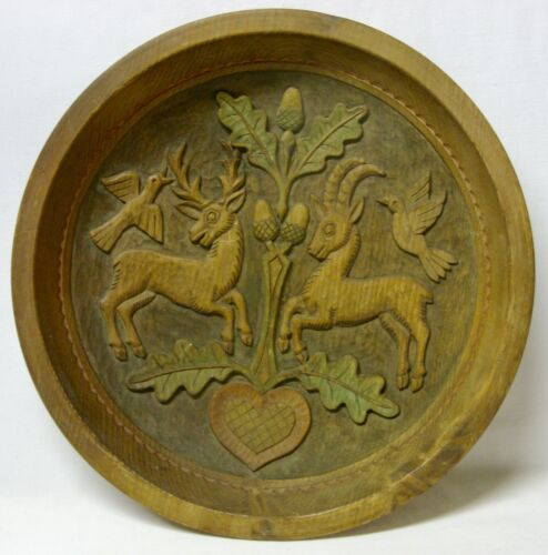 """Round Hand-Carved AUSTRIAN WOOD HANGING PLATE - 13-3/8"""" Across"""