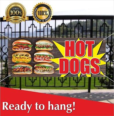 Hot Dogs Banner Vinyl Mesh Banner Sign Many Sizes Fast Carnival Food