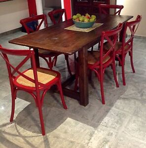6 seater recycled timber dining table and industrial style chairs Oatley Hurstville Area Preview