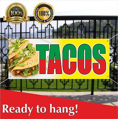 Tacos Banner Vinyl Mesh Banner Sign Many Sizes Food Market Restaurant Stand