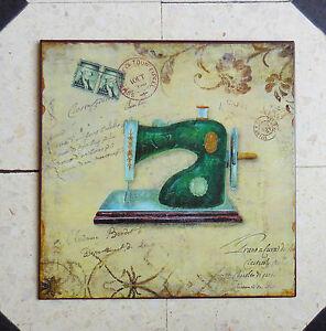 plaque carre decorative en t le decor de carte postale ancienne mode couture ebay. Black Bedroom Furniture Sets. Home Design Ideas