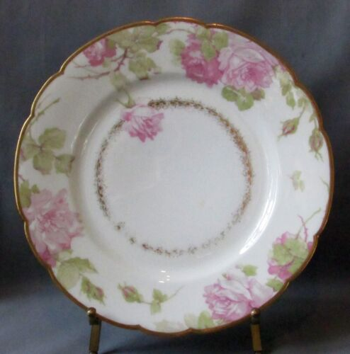 Haviland Luncheon Plate -  Pink Roses - Gold Scalloped Edge - S65 variant