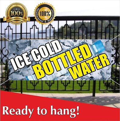 Ice Cold Bottled Water Banner Vinyl Mesh Banner Sign Iced Fountain Drinks Pop