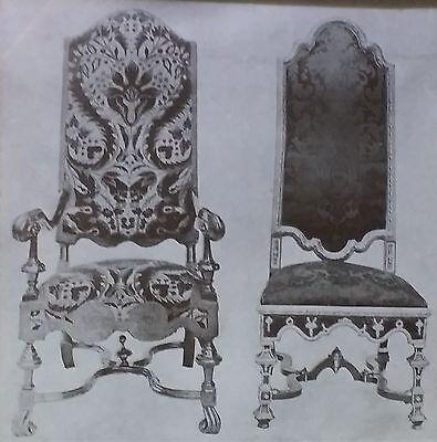 17th c. William & Mary Walnut English Chairs, Magic Lantern Glass Photo Slide ()