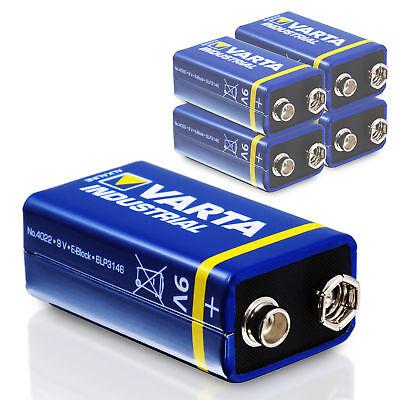 5x Varta 9V Block Batterie 6LR61 550mAh E-Block Alkaline Industrial 5 Stk