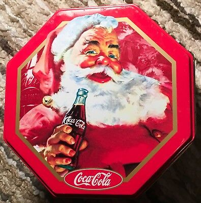 "COCA COLA SANTA CLAUS Christmas Collectible 6"" Metal Tin w Lid COKE Advertising"