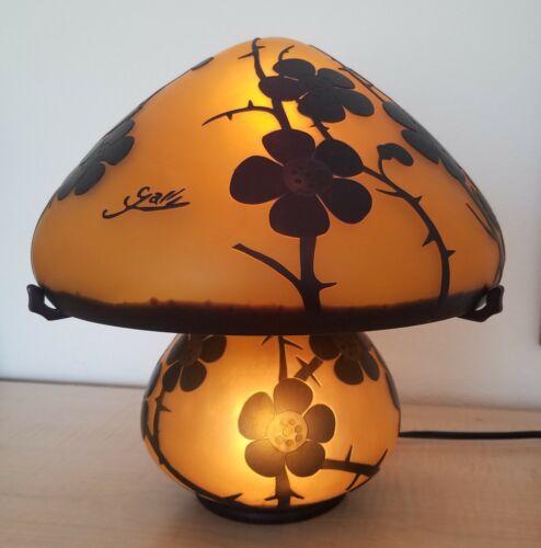 GALLE Style Signed Art Nouveau Orange w Overlaid Flowers Glass Mushroom Lamp