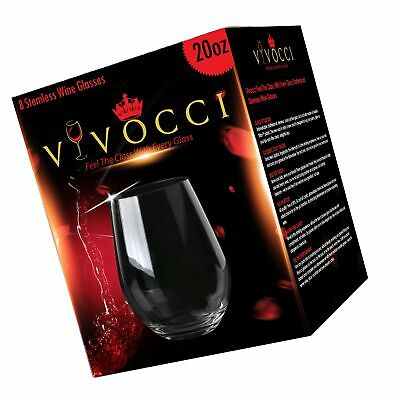 Vivocci Unbreakable Plastic Stemless Wine Glasses 20 Oz 100 Tritan Heavy B... - $79.99